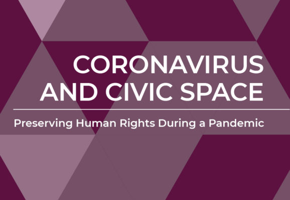 Coronavirus and Civic Space cover graphic - title overlayed a purple and grey triangle pattern