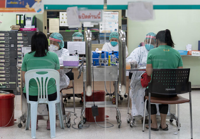 Scenes of healthcare workers at Thailand Bamrasnaradura Infectious Disease Institute, Ministry of Public Health. During this coronavirus outbreak, workforce shortages have gotten worse and nurse-midwives around the world have had to sacrifice in the hospitals around the clock and with limited personal protective equipment. (Photo: UN Women/Pathumporn Thongking)