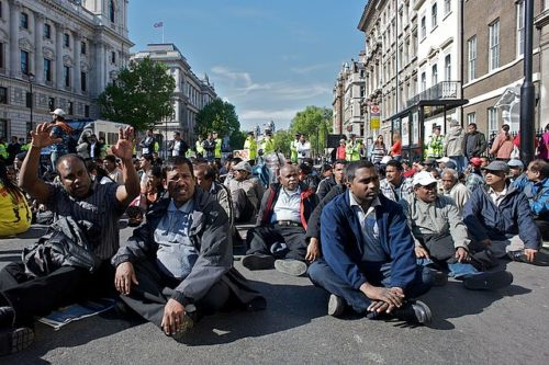 Sit-in protest in Whitehall, UK in May 2009 (Photo: Southbanksteve/Wikimedia)