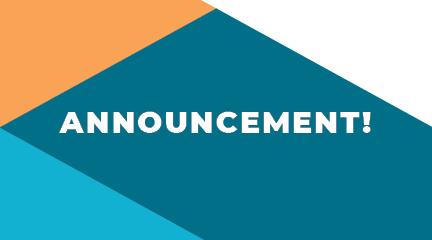"Announcement graphic (the word ""announcement!"" in white lettering over a background pattern of teal, aqua, and orange)"