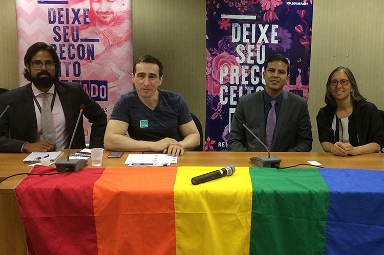 """After gathering data on regulatory barriers to freedom of assembly affecting more than 100 gay pride marches in Brazil, Welton Trindade (second from left) concluded that """"the study supported by ICNL shows that the solutions are right here in Brazil."""" (Photo credit: ICNL)"""