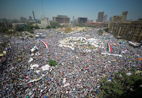Protesters in Cairo's Tahrir Square in 2011 (photo credit: Wikimedia Commons)