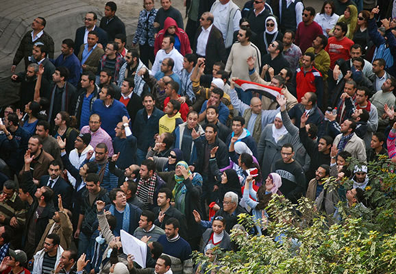 Protesters in Cairo, Egypt, in 2011 (photo credit: Wikimedia Commons)