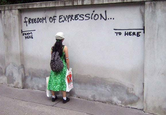"""Freedom of Expression wall - """"from here to here"""" (photo credit: Harald Groven/Flickr)"""