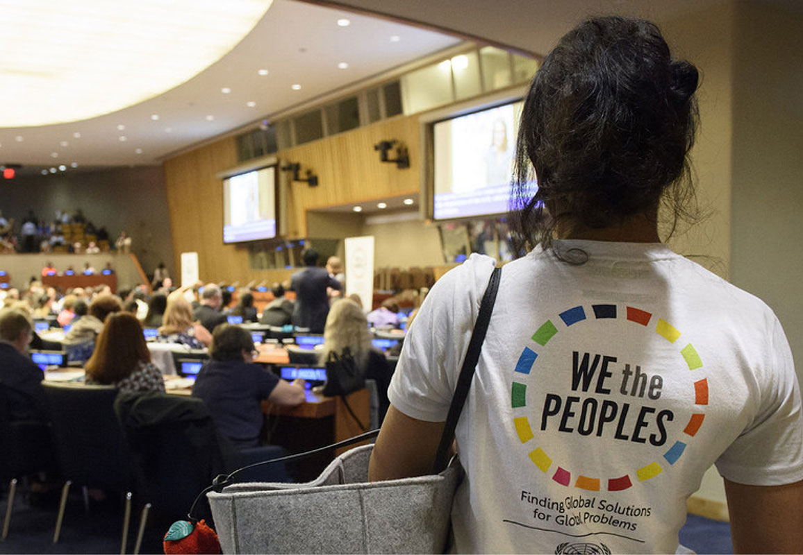A woman attends a civil society conference at the United Nations Headquarters (photo credit: UN Photo/Loey Felipe)