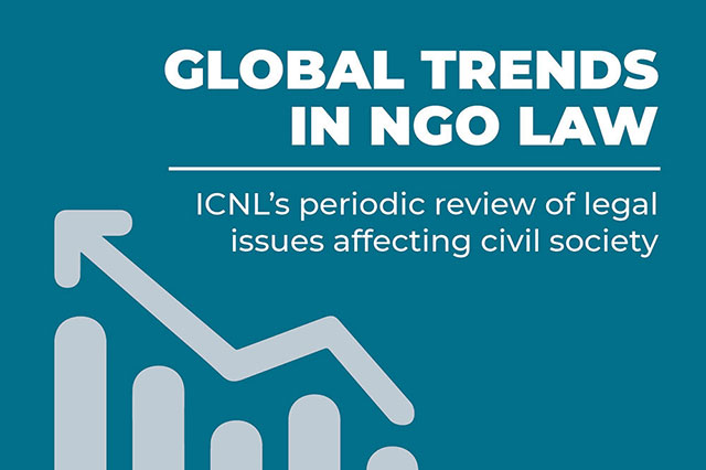 Global Trends in NGO Law Button - leads to page for ICNL's periodic review of legal issues affecting civil society