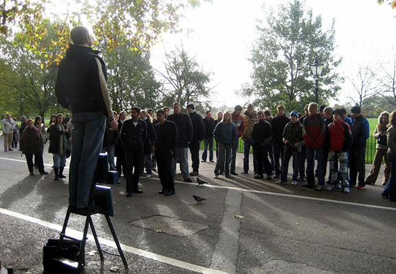Hyde Park speakers corner in London, UK (photo credit: Wally Gobetz/Flickr)