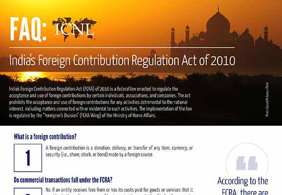 FAQ: India's Foreign Contribution Regulation Act of 2010