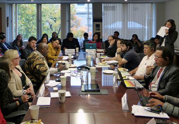 Maina Kiai and Lilly Ching meet with Latin American activists at a meeting sponsored by ICNL (photo credit: ICNL)