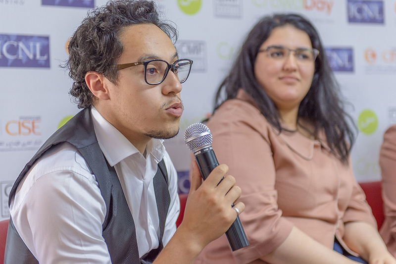 "A speaker at an ICNL-supported workshop on crowdfunding in Morocco, May 2018. One participant concluded that the legalization of crowdfunding ""could have a truly positive impact on Morocco's development."" (Photo credit: ICNL)"