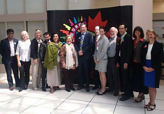 Canadian Minister for International Cooperation Cristian Paradis hosted a roundtable with civil society, including ICNL, to discuss ways to promote an enabling environment, on the sidelines of the GPEDC in Mexico City (Photo Credit: GPEDC)