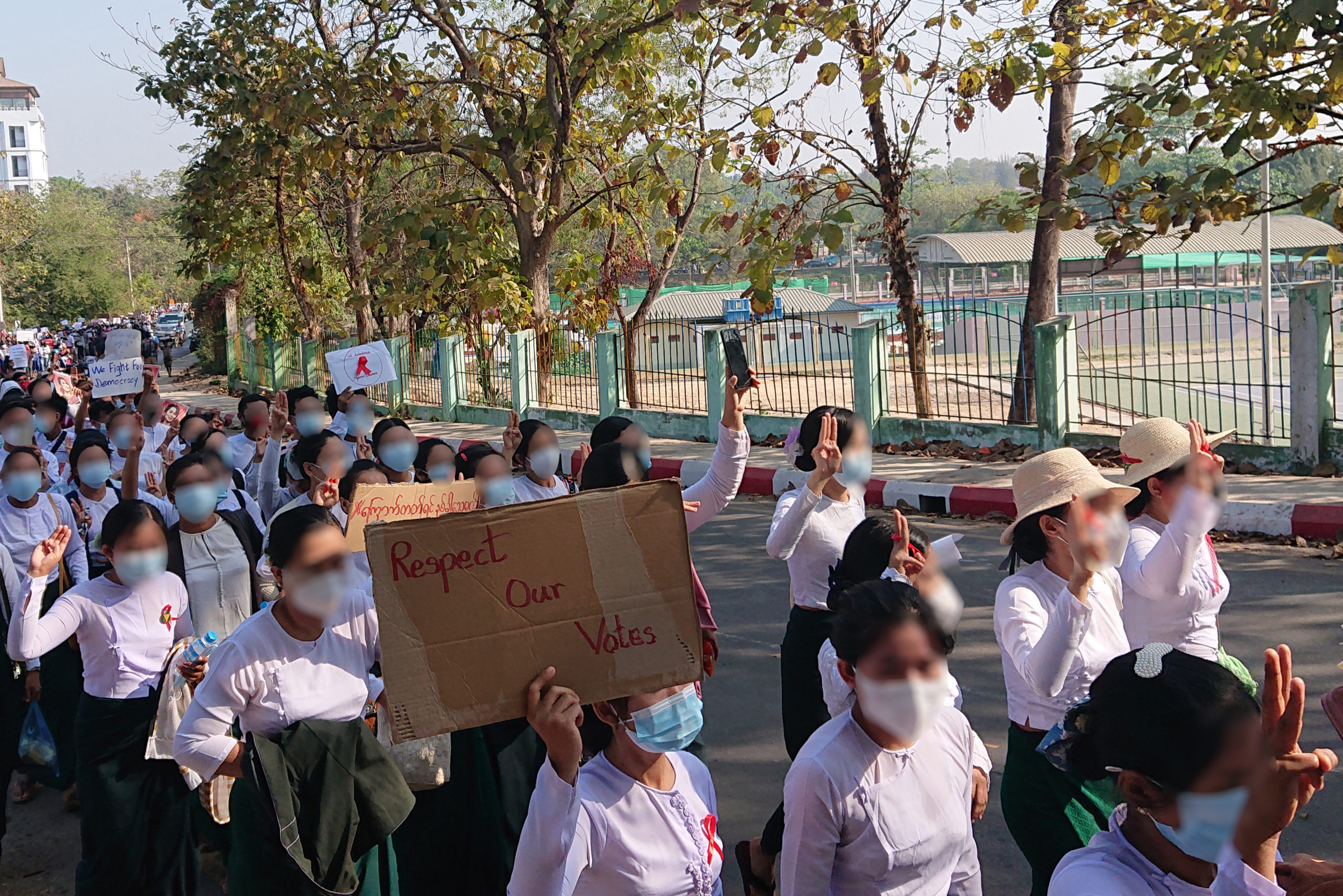 A group of uniformed schoolteachers protesting in Hpa-an on 9 February 2021 (photo credit: wiki commons CC BY-SA 4.0)