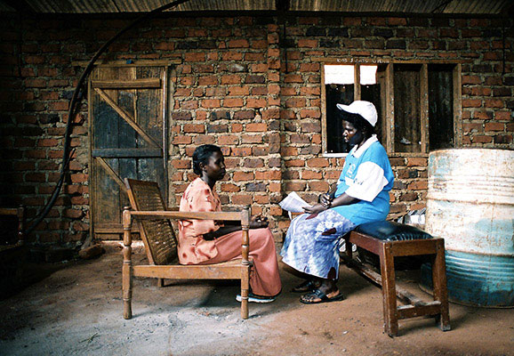 Scene from an HIV clinic in East Africa (photo credit: Frederic Courbet for International AIDS Vaccine Initiative)