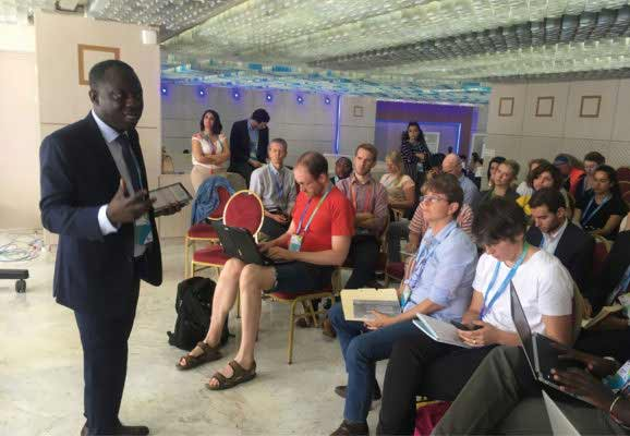 Clement Voule, the UN Special Rapporteur on the rights to freedom of peaceful assembly and of association speaking with civil society and the private sector at RightsCon 2019 about strategic ideas on implementing the report recommendations to protect these fundamental freedoms (photo credit: ICNL)