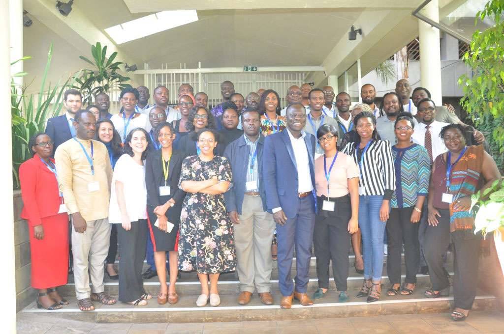 Participants attending the February 2019 Nairobi consultation on FoAA in the digital age seen her with UN Special Rapporteur on the Right to Freedom of Peaceful Assembly and of Association, Clement Voule (Photo: ICNL)