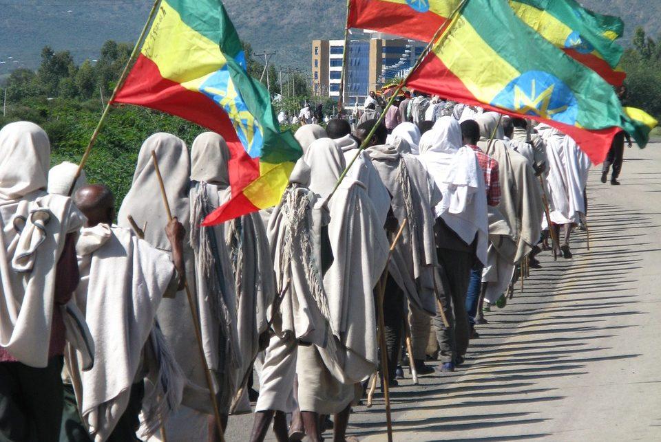 Ethiopia protestors with flags (photo credit: pixabay.com)
