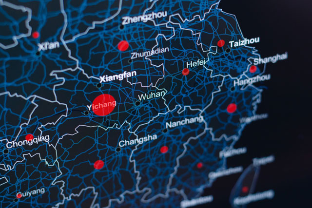 Digital map of China with red dots (photo credit: unsplash.com)