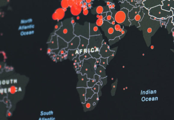 Africa with red dot (photo credit: unsplash.com)