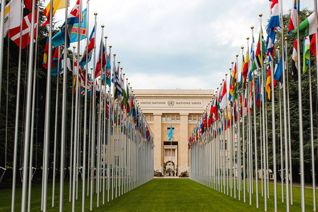 United Nations headquarters with flags (credit: unsplash.com):