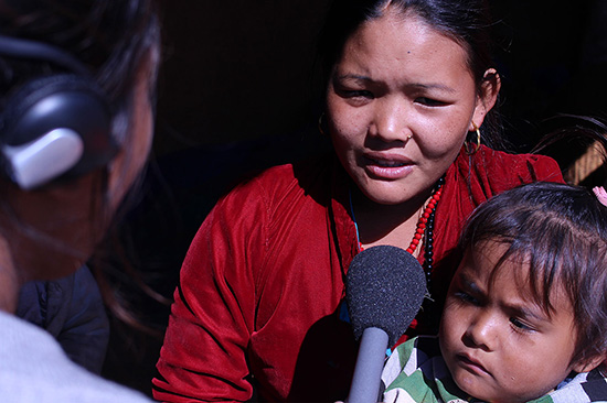 A woman in Dhading giving interview for Milijuli Nepali (Photo credit: Bhawana Gurung/