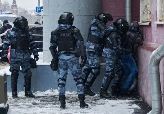 Russian police attack protestor (photo credit: unsplash.com)